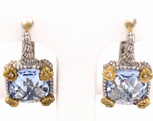 JR SS/18ky earrings w/blue quartz and diamonds