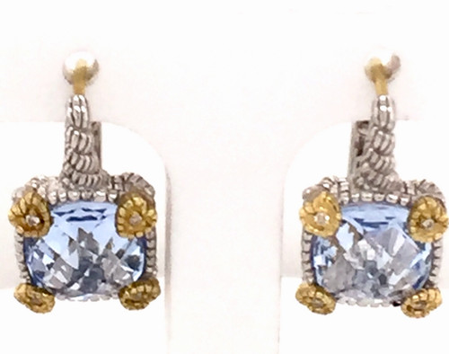 JR SS/18ky earrings w/blue quartz and diamonds