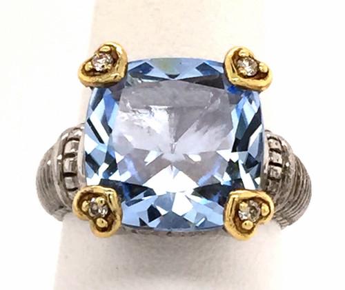 JR SS/18ky blue quartz/diamond ring