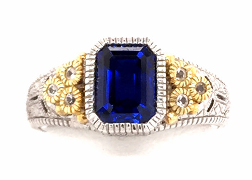 JR SS/18ky blue synthetic corundum/white sapphire ring