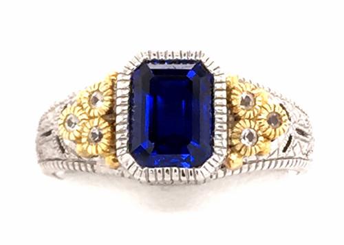 JR SS/18ky blue synthetic corundum/white sapphire ring