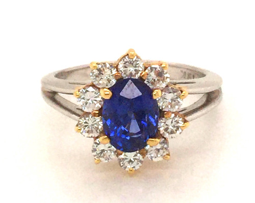 Plat/18ky Diamond halo/Sapphire ring