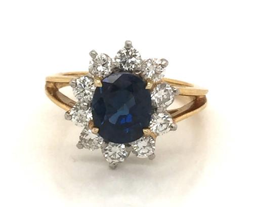 18ky/Plat Sapphire/Diamond halo ring