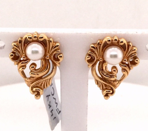 14kyg fan shaped earrings with pearl
