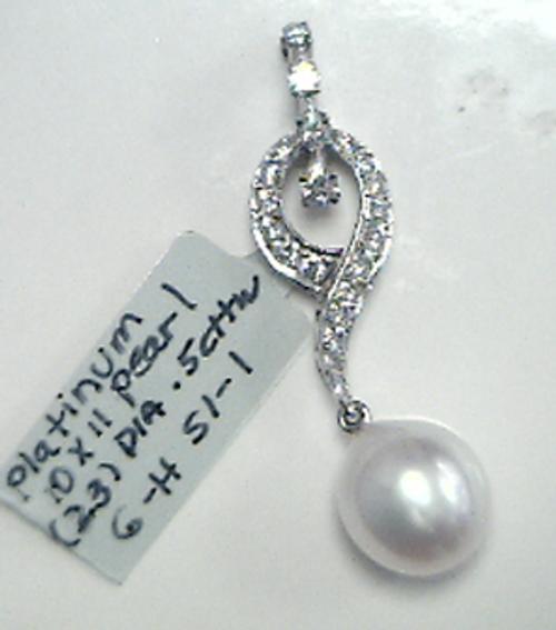 Plat Pearl/Diamond pearl adapter pendant