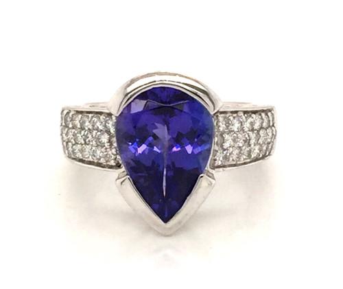 Platinum pear shape Tanzanite/Diamond ring
