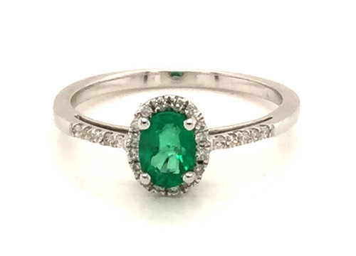 14kwg oval emerald diamond halo ring