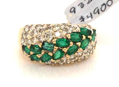 14kyg dome ring w/MQ Emeralds and Diamonds