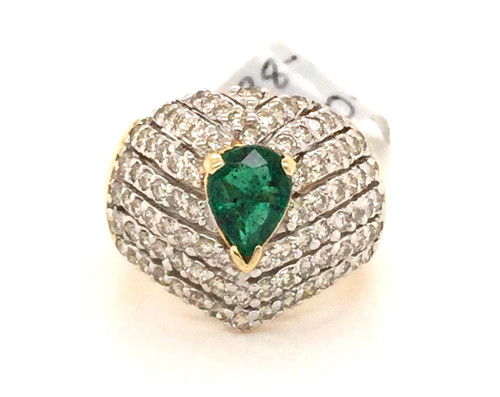 14kyg dome ring w/pear shaped Emerald and diamonds