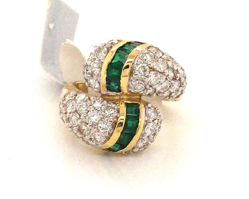 18kyg bypass ring w/Emerald and diamonds