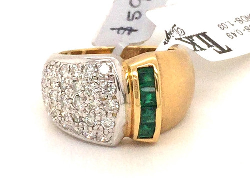 18k channel set pc Emeralds and pave' Diamonds wide band