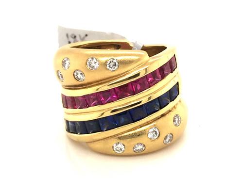 18kyg pc Sapphires and Rubies RB diamonds wide band