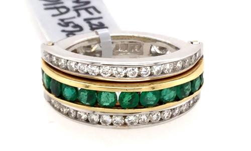 "18ktt Diamond and Emerald ""Twister"" band"