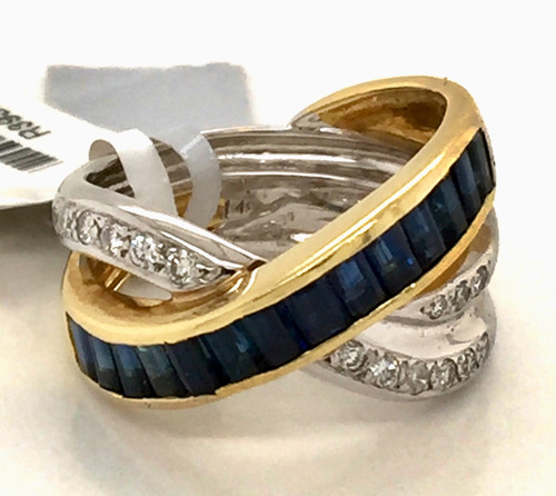 18K TT crossover ring w/sapphire baguettes and diamonds