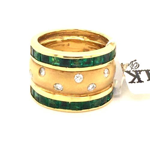 18kyg channel set pc Emerald and bright set diamond band