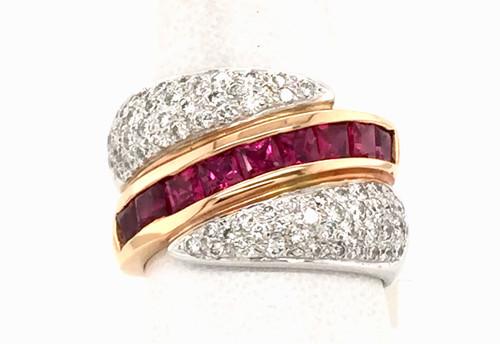 18ktt pc Rubies/Pave' diamond band