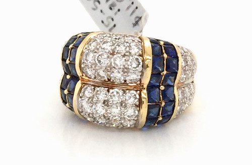 18kyg  dome ring w/sapphires and diamonds