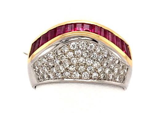 18ktt channel Rubies/pave' diamonds band
