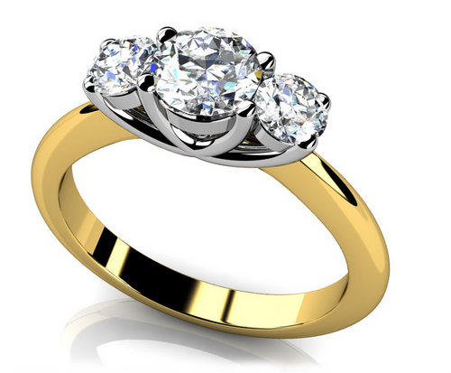 3 stone ring is available in white, yellow or two tone