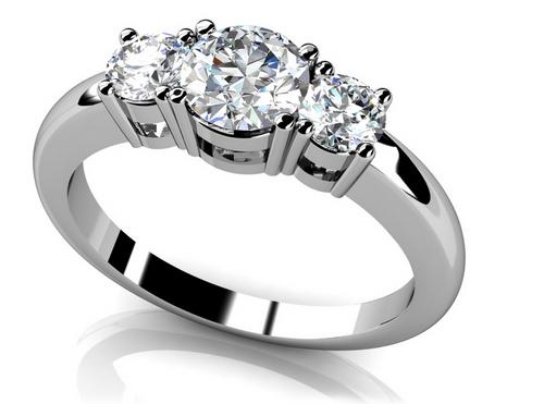 14 karat White gold ring designed for 3 round gemstones.