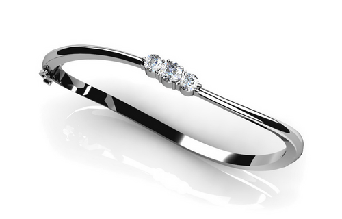 3 Stone Diamond Bange Bracelet