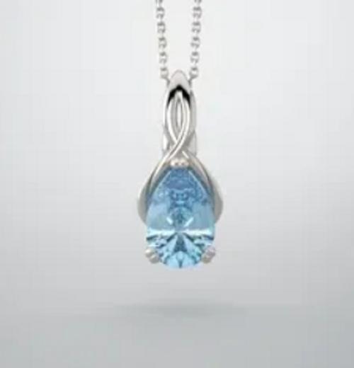 14k infinity inspired pear shape gemstone pendant mounting.