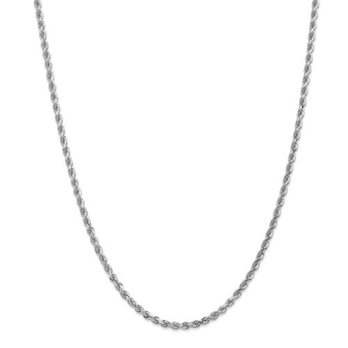 14 karat white gold 3mm diamond cut solid rope chain 24""