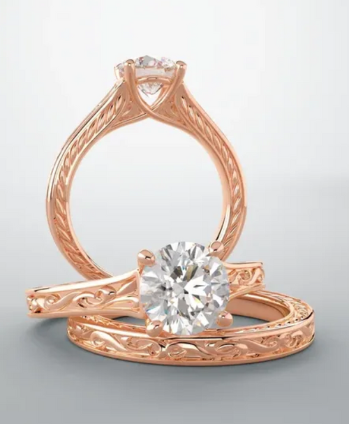 14k rose gold vintage solitaire mounting only