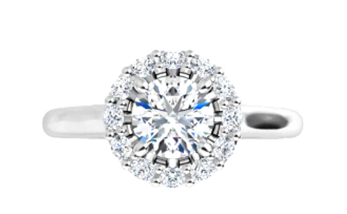 14k round diamond Halo engagement ring semi mounting only