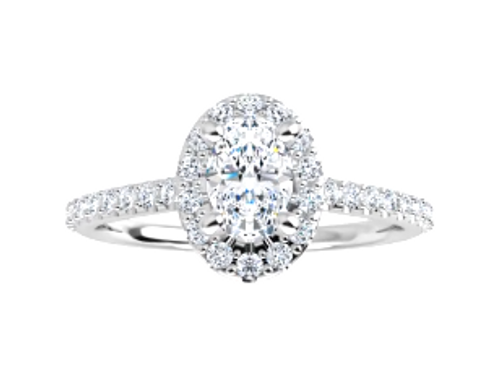 14k oval halo engagement ring semi mounting only