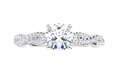 14k diamond infinity semi mounting engagement ring