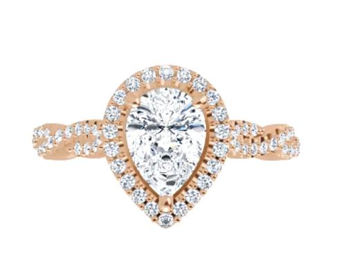 14k rose gold PS halo diamond center/infinity shank semi mtg only
