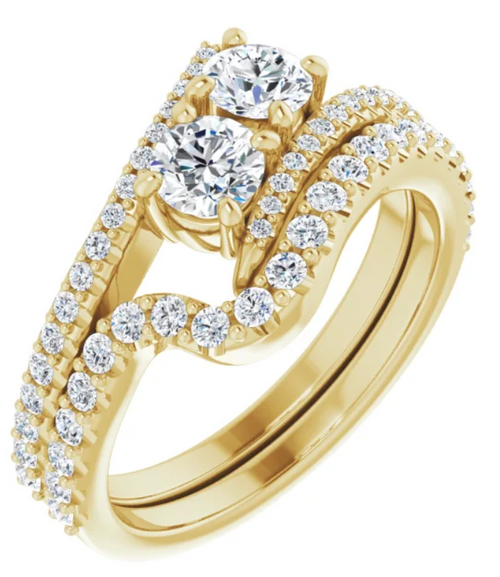14k yellow gold diamond accented two stone ring semi mounting only