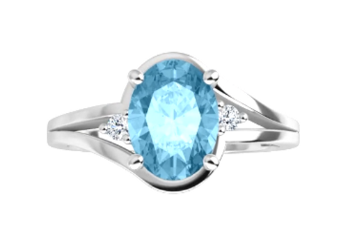 14kwg 8x6mm oval blue topaz and (2) diamond ring