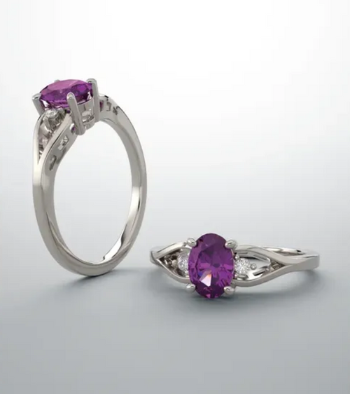14k 9x7mm oval Amethyst and (2)diamond 0.10cttw ring