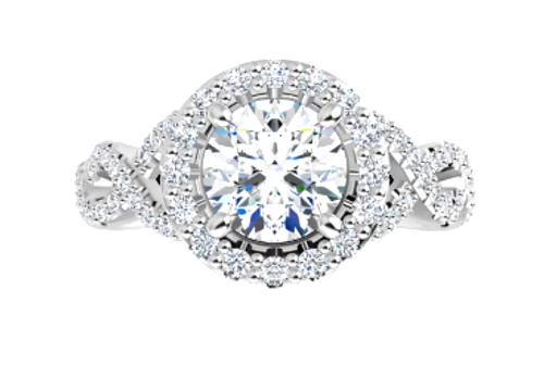 14kw diamond halo/infinity shank engagement ring semi mounting only