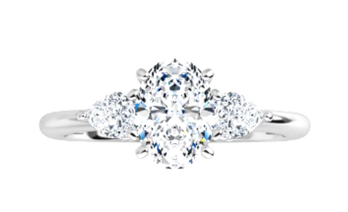 14k 3-stone oval engagement ring with PS side diamonds semi mounting only