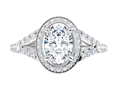14w oval engagement ring with channel halo/diamond sides semi mtg only