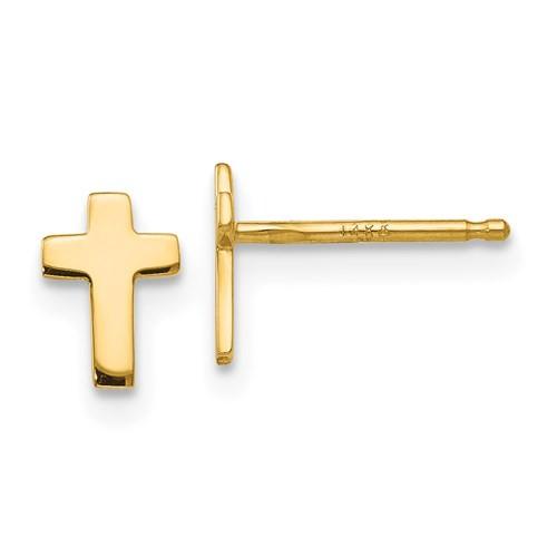 14k yellow gold cross post earrings