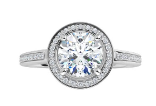 14k channel set halo and side diamonds semi mounting only