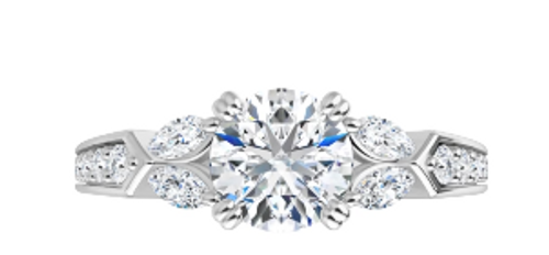 14k (4)MQ and (22)RB diamond semi mounting only