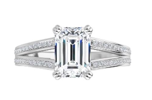 14k diamond accented split shank Emerald cut semi mounting only