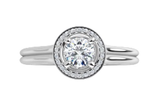 14k channel diamond halo with double shank semi mounting only