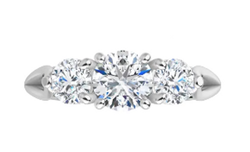 14k 3-stone ring with (2)4mm side diamonds semi mounting only