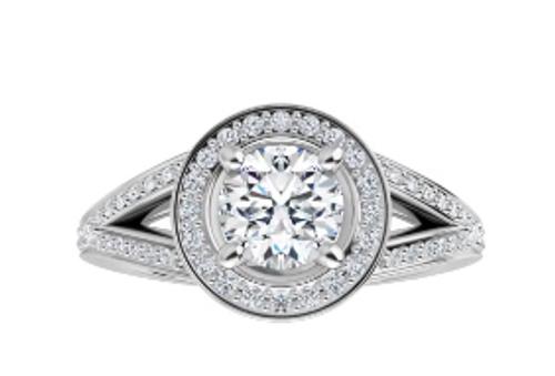 14k channel diamond split shank/halo semi mounting only