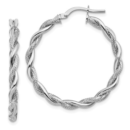 14k white gold polished/diamond cut twisted hoop earrings