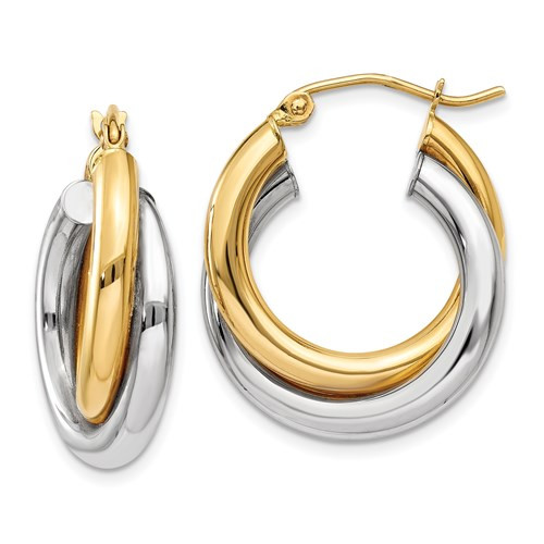 14k two tone double hoop earrings 14mm by 7mm