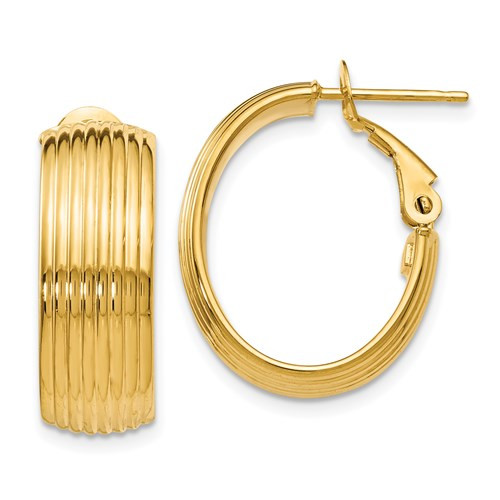14k yellow gold ribbed hoop earrings with Omega backs