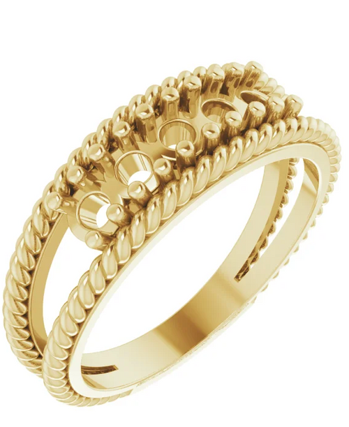 14ky family negative space 3-stone rope edge ring -mounting only