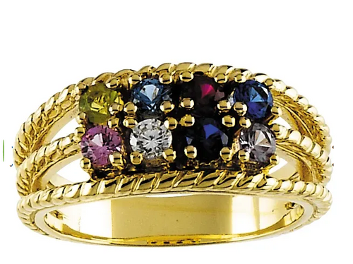 14k yellow gold double row 8-stone family ring mounting only.
